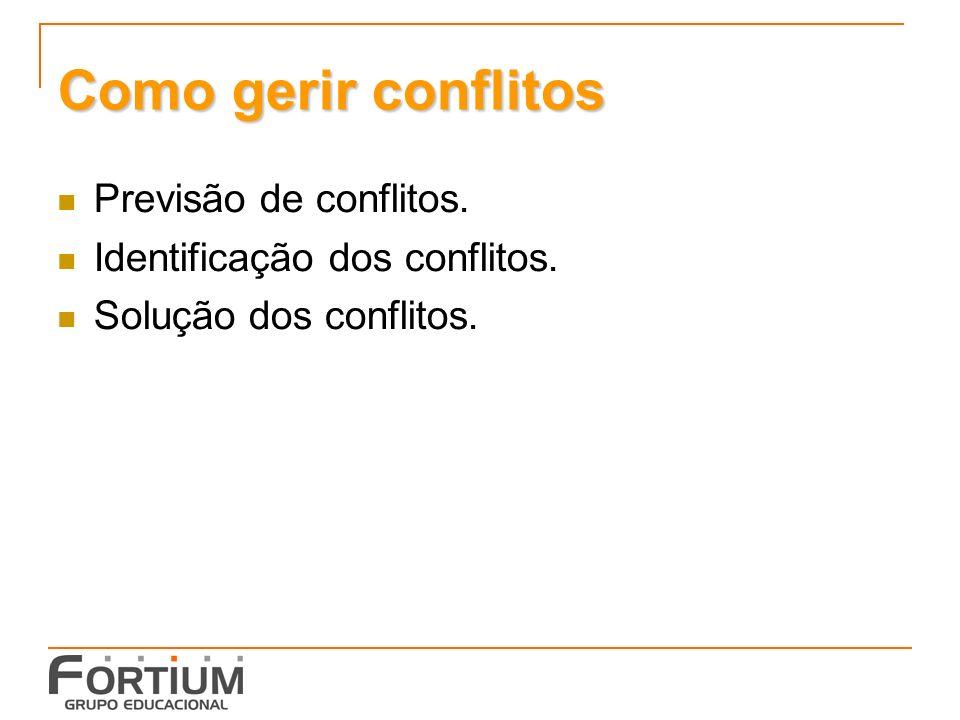 Como gerir conflitos Previsão de conflitos. Identificação dos conflitos. Solução dos conflitos.
