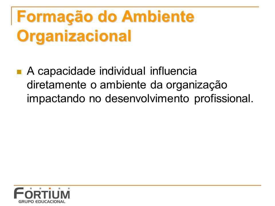 Formação do Ambiente Organizacional A capacidade individual influencia diretamente o ambiente da organização impactando no desenvolvimento profissional.