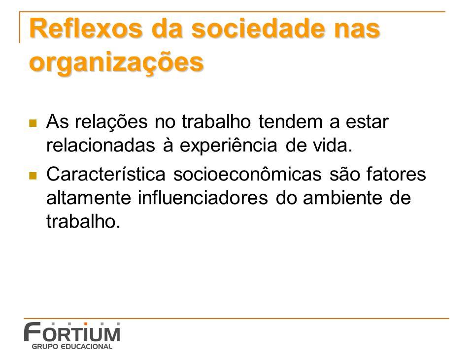 Reflexos da sociedade nas organizações As relações no trabalho tendem a estar relacionadas à experiência de vida.