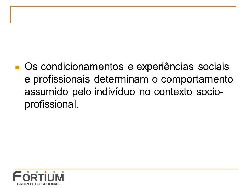 Os condicionamentos e experiências sociais e profissionais determinam o comportamento assumido pelo indivíduo no contexto socio- profissional.