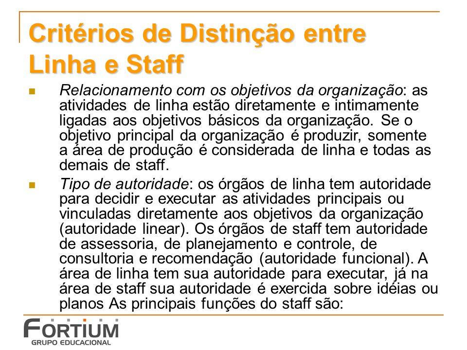 Critérios de Distinção entre Linha e Staff Relacionamento com os objetivos da organização: as atividades de linha estão diretamente e intimamente ligadas aos objetivos básicos da organização.