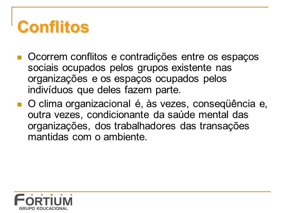 Conflitos Ocorrem conflitos e contradições entre os espaços sociais ocupados pelos grupos existente nas organizações e os espaços ocupados pelos indivíduos que deles fazem parte.