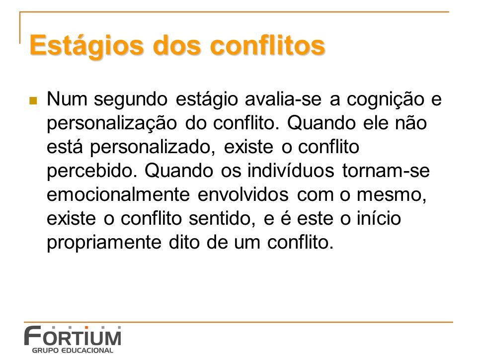Estágios dos conflitos Num segundo estágio avalia-se a cognição e personalização do conflito.