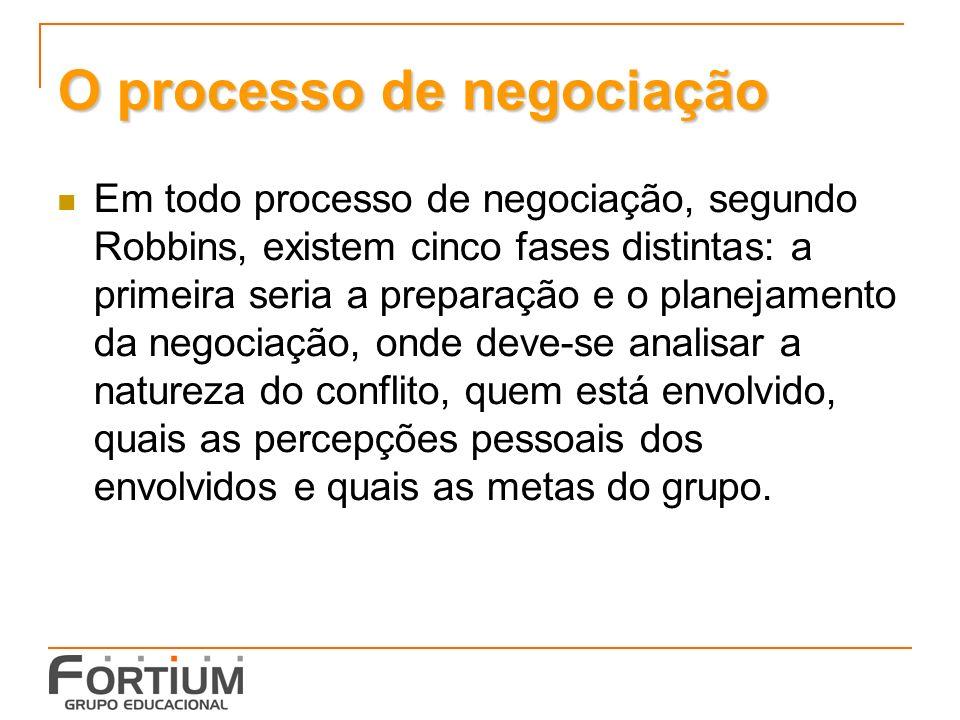 O processo de negociação Em todo processo de negociação, segundo Robbins, existem cinco fases distintas: a primeira seria a preparação e o planejamento da negociação, onde deve-se analisar a natureza do conflito, quem está envolvido, quais as percepções pessoais dos envolvidos e quais as metas do grupo.