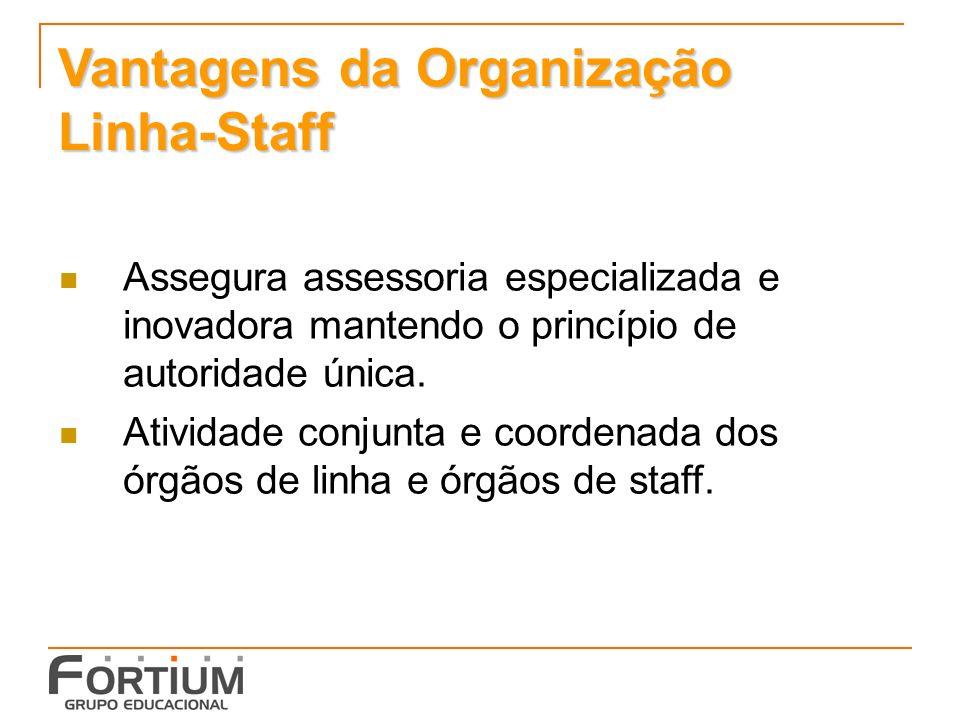 Vantagens da Organização Linha-Staff Assegura assessoria especializada e inovadora mantendo o princípio de autoridade única.