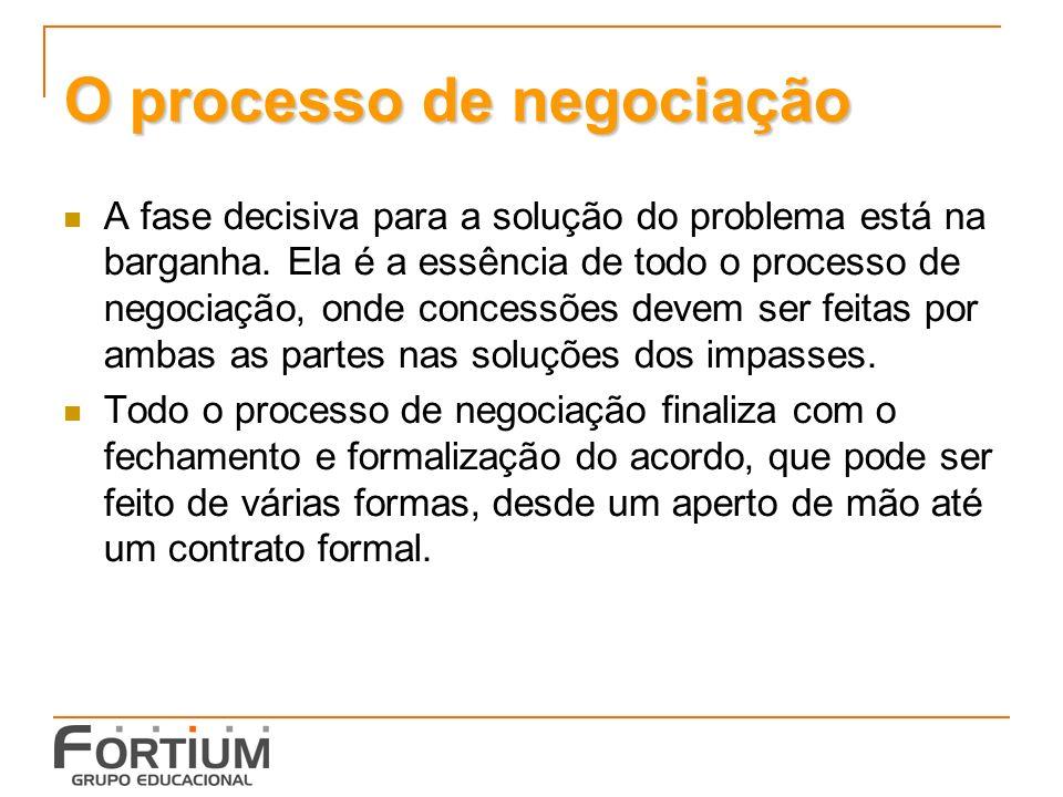 O processo de negociação A fase decisiva para a solução do problema está na barganha.