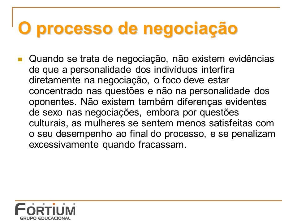 O processo de negociação Quando se trata de negociação, não existem evidências de que a personalidade dos indivíduos interfira diretamente na negociação, o foco deve estar concentrado nas questões e não na personalidade dos oponentes.