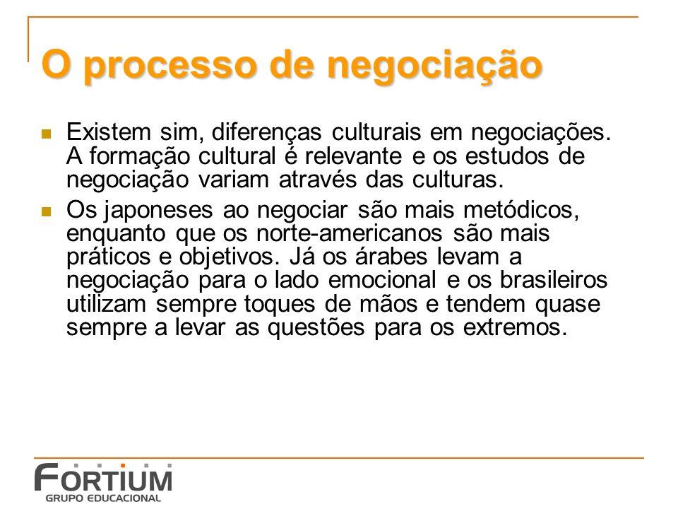 O processo de negociação Existem sim, diferenças culturais em negociações.