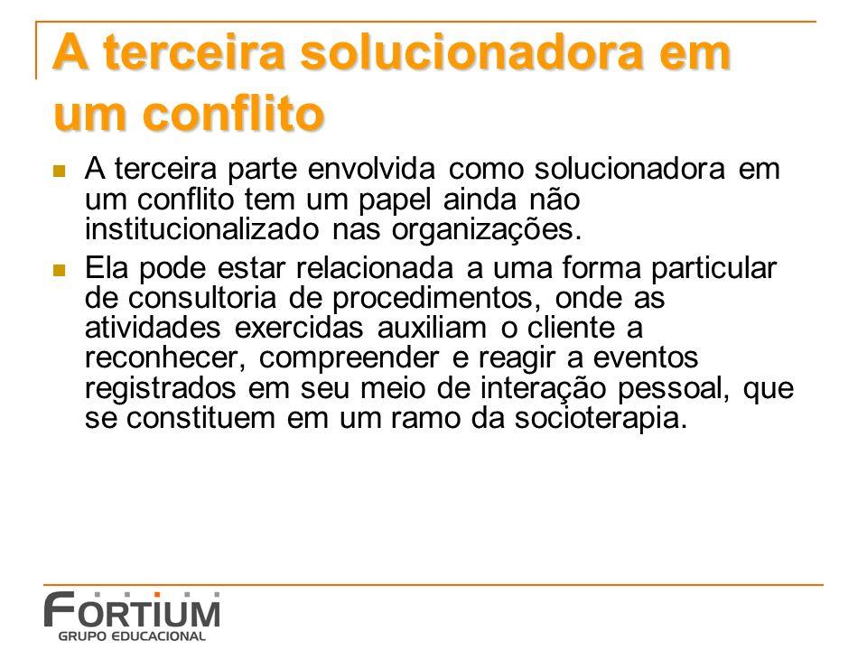 A terceira solucionadora em um conflito A terceira parte envolvida como solucionadora em um conflito tem um papel ainda não institucionalizado nas organizações.