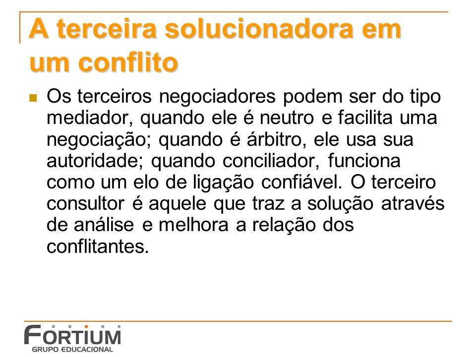 A terceira solucionadora em um conflito Os terceiros negociadores podem ser do tipo mediador, quando ele é neutro e facilita uma negociação; quando é árbitro, ele usa sua autoridade; quando conciliador, funciona como um elo de ligação confiável.