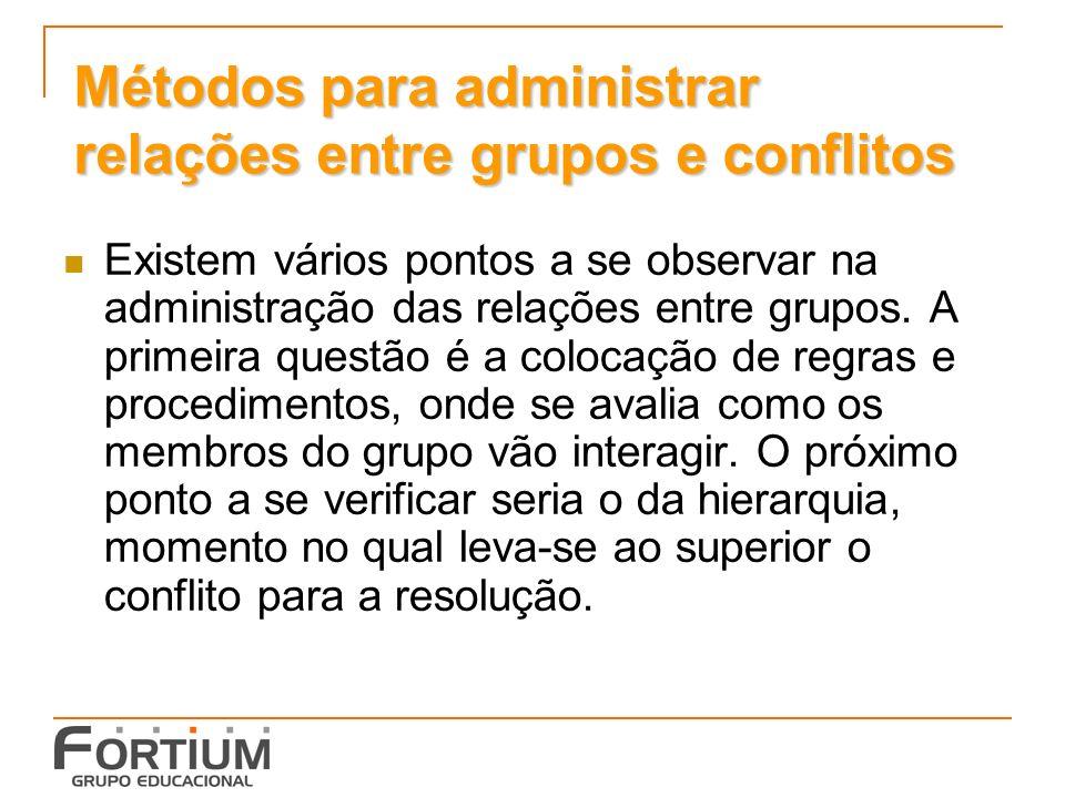 Métodos para administrar relações entre grupos e conflitos Existem vários pontos a se observar na administração das relações entre grupos.
