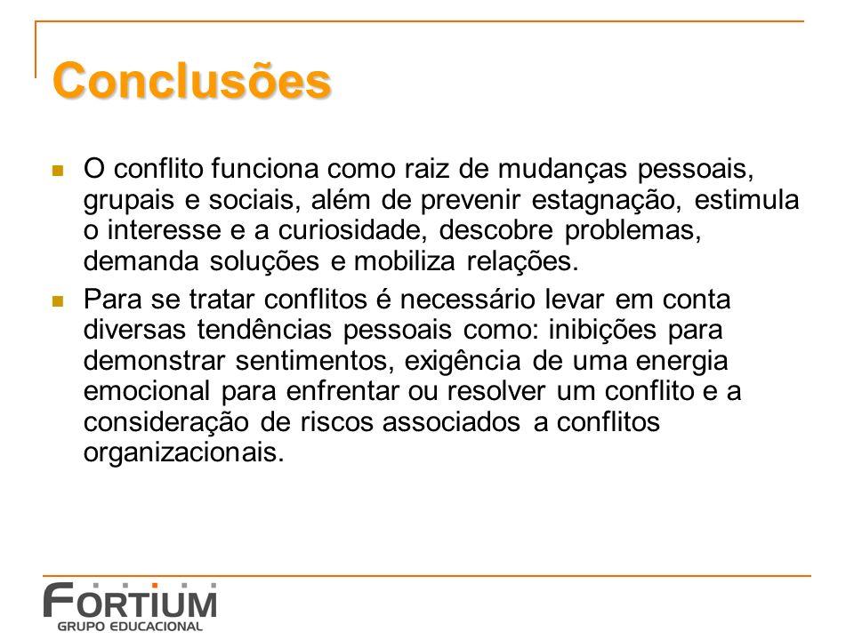 Conclusões O conflito funciona como raiz de mudanças pessoais, grupais e sociais, além de prevenir estagnação, estimula o interesse e a curiosidade, descobre problemas, demanda soluções e mobiliza relações.