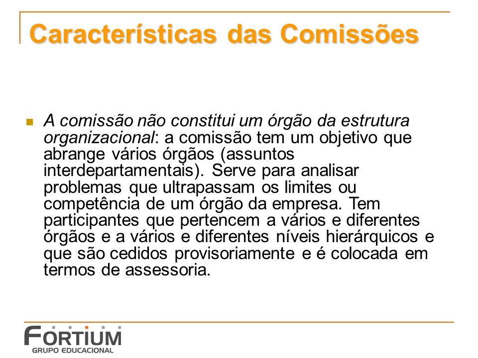 Características das Comissões A comissão não constitui um órgão da estrutura organizacional: a comissão tem um objetivo que abrange vários órgãos (assuntos interdepartamentais).