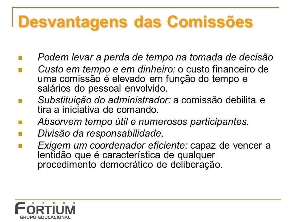 Desvantagens das Comissões Podem levar a perda de tempo na tomada de decisão Custo em tempo e em dinheiro: o custo financeiro de uma comissão é elevado em função do tempo e salários do pessoal envolvido.