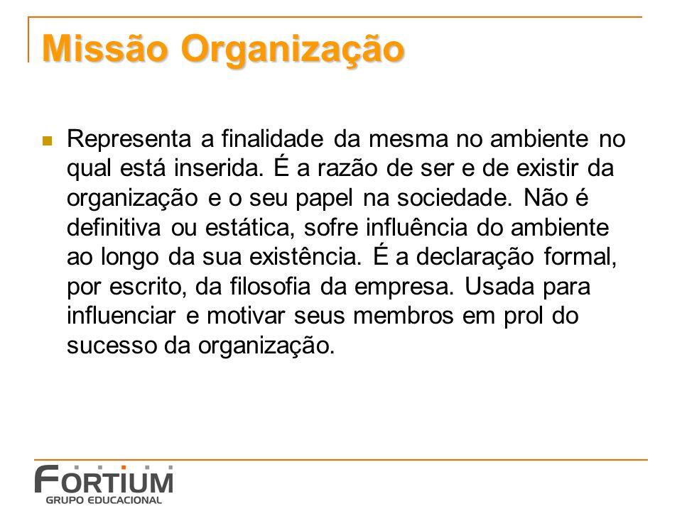 Missão Organização Representa a finalidade da mesma no ambiente no qual está inserida.