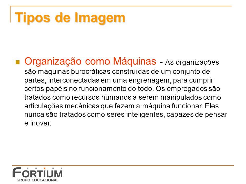 Tipos de Imagem Organização como Máquinas - As organizações são máquinas burocráticas construídas de um conjunto de partes, interconectadas em uma engrenagem, para cumprir certos papéis no funcionamento do todo.