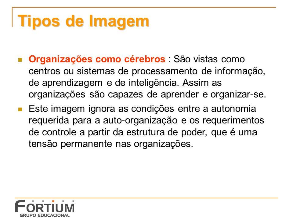 Tipos de Imagem Organizações como cérebros : São vistas como centros ou sistemas de processamento de informação, de aprendizagem e de inteligência.