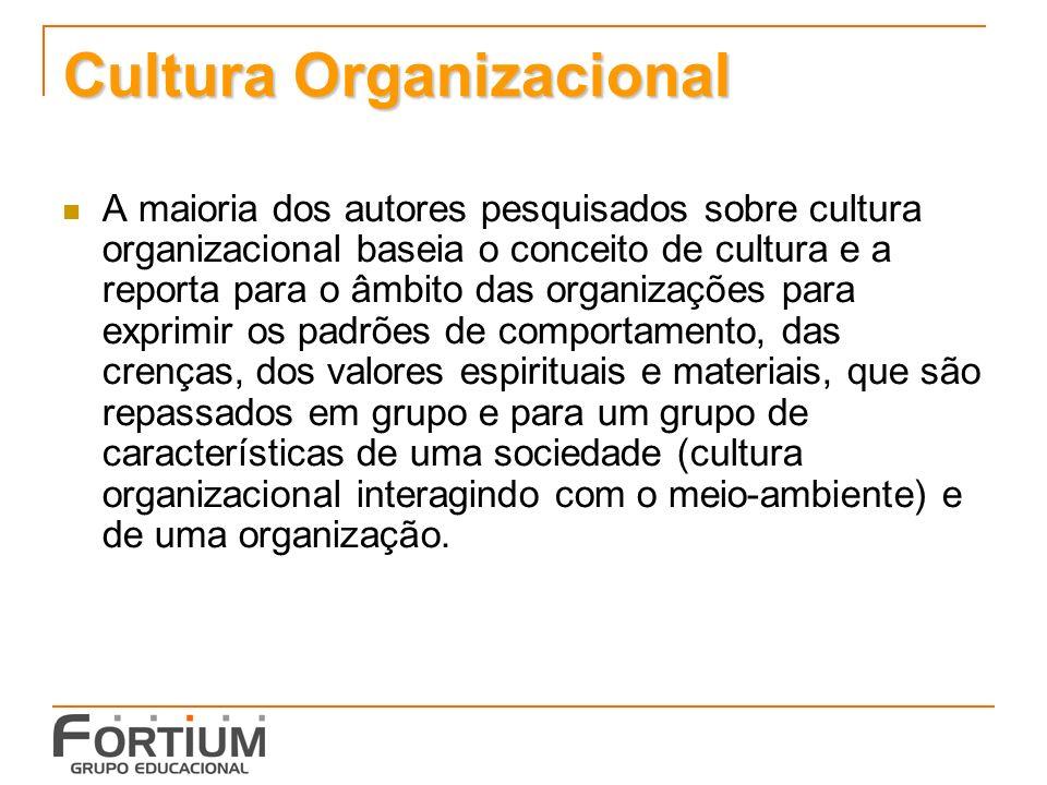 Cultura Organizacional A maioria dos autores pesquisados sobre cultura organizacional baseia o conceito de cultura e a reporta para o âmbito das organizações para exprimir os padrões de comportamento, das crenças, dos valores espirituais e materiais, que são repassados em grupo e para um grupo de características de uma sociedade (cultura organizacional interagindo com o meio-ambiente) e de uma organização.