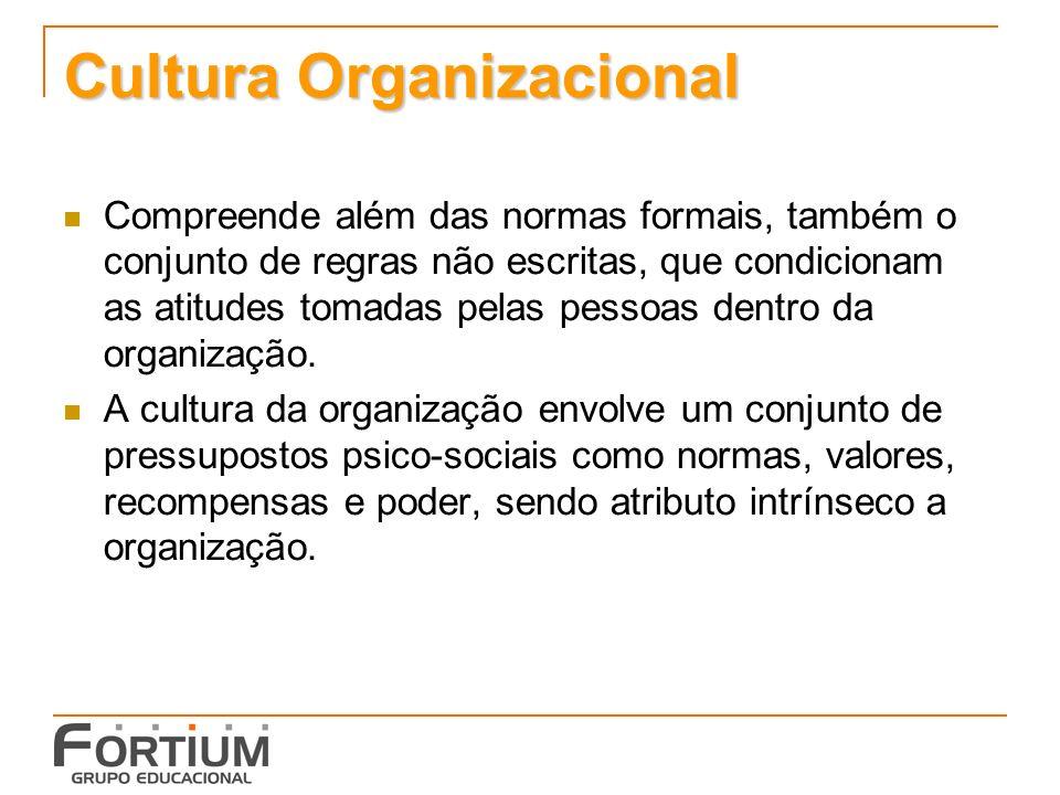 Cultura Organizacional Compreende além das normas formais, também o conjunto de regras não escritas, que condicionam as atitudes tomadas pelas pessoas dentro da organização.