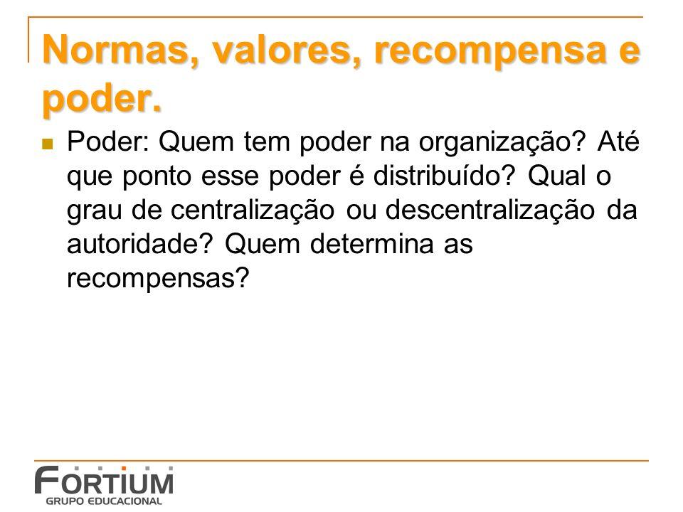 Normas, valores, recompensa e poder.Poder: Quem tem poder na organização.