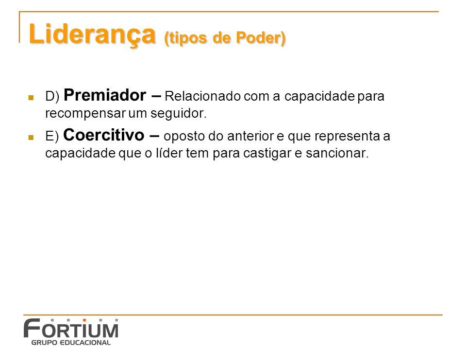 Liderança (tipos de Poder) D) Premiador – Relacionado com a capacidade para recompensar um seguidor.