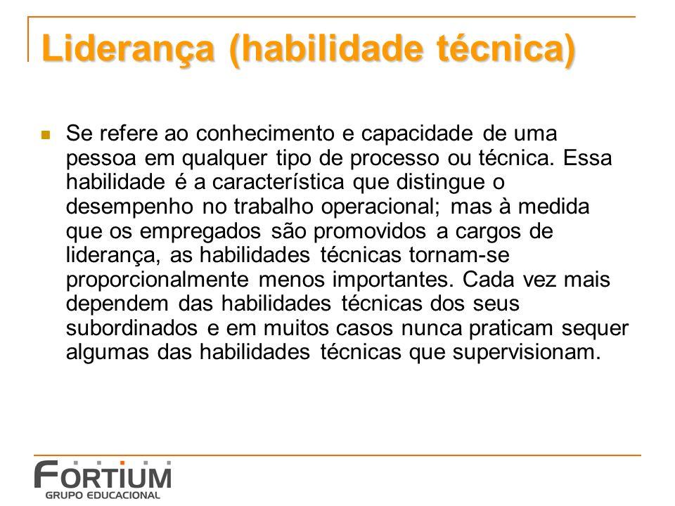Liderança (habilidade técnica) Se refere ao conhecimento e capacidade de uma pessoa em qualquer tipo de processo ou técnica.