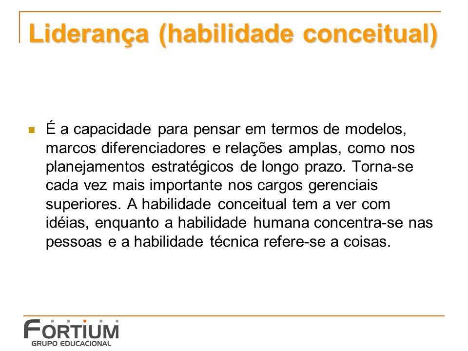 Liderança (habilidade conceitual) É a capacidade para pensar em termos de modelos, marcos diferenciadores e relações amplas, como nos planejamentos estratégicos de longo prazo.