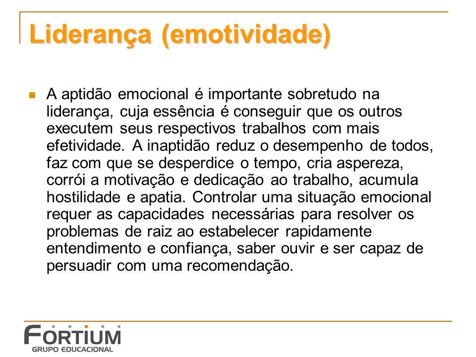 Liderança (emotividade) A aptidão emocional é importante sobretudo na liderança, cuja essência é conseguir que os outros executem seus respectivos trabalhos com mais efetividade.