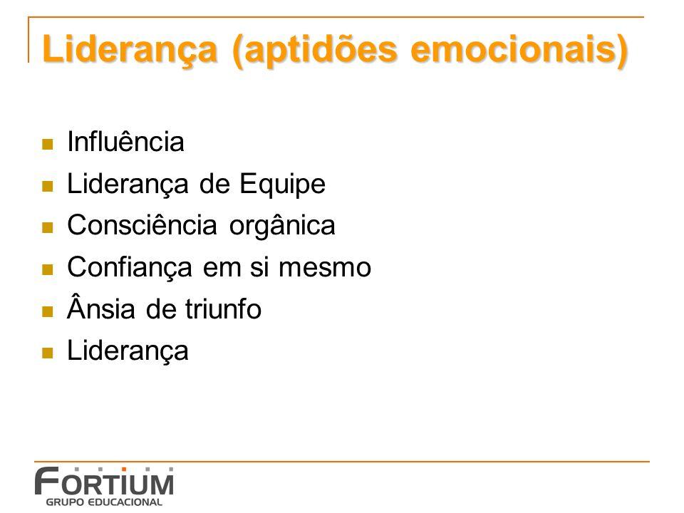 Liderança (aptidões emocionais) Influência Liderança de Equipe Consciência orgânica Confiança em si mesmo Ânsia de triunfo Liderança