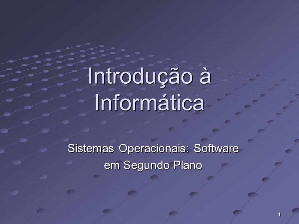 1 Introdução à Informática Sistemas Operacionais: Software em Segundo Plano
