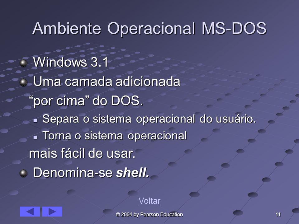 11 © 2004 by Pearson Education Ambiente Operacional MS-DOS Windows 3.1 Windows 3.1 Uma camada adicionada Uma camada adicionada por cima do DOS. por ci