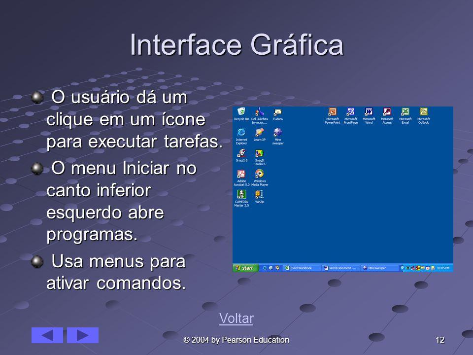 12 © 2004 by Pearson Education Interface Gráfica O usuário dá um clique em um ícone para executar tarefas. O usuário dá um clique em um ícone para exe