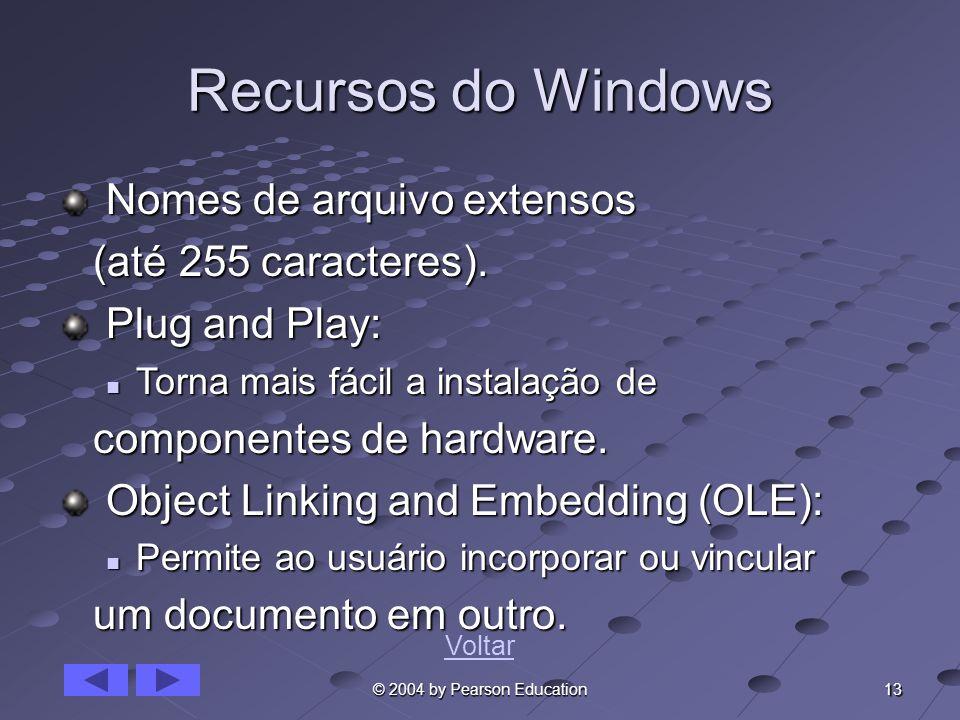 13 © 2004 by Pearson Education Recursos do Windows Nomes de arquivo extensos Nomes de arquivo extensos (até 255 caracteres). (até 255 caracteres). Plu