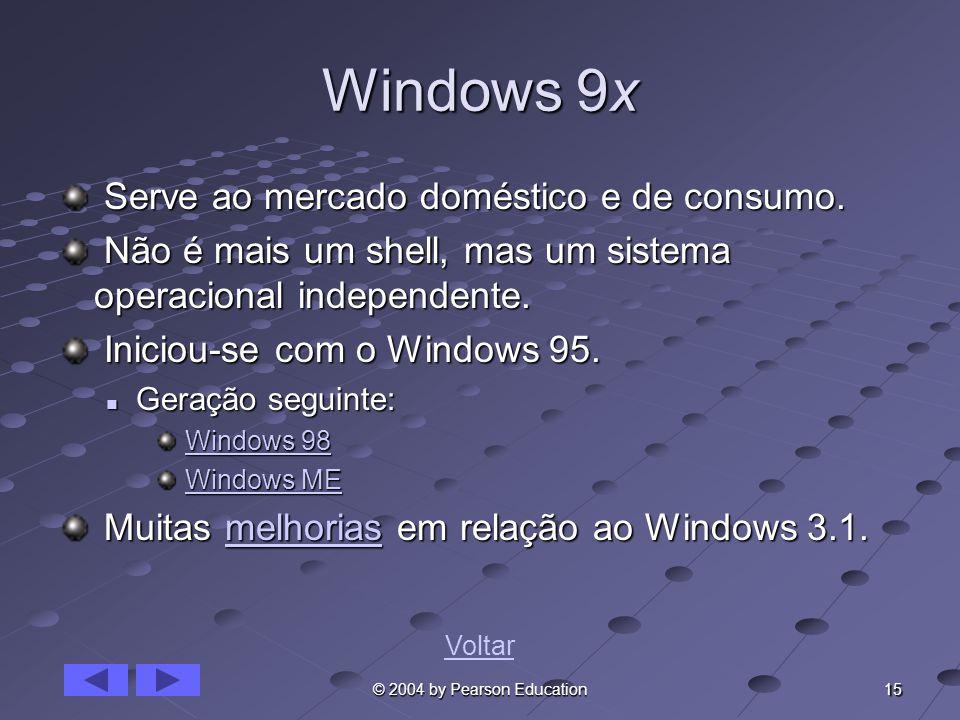 15 © 2004 by Pearson Education Windows 9x Serve ao mercado doméstico e de consumo. Serve ao mercado doméstico e de consumo. Não é mais um shell, mas u