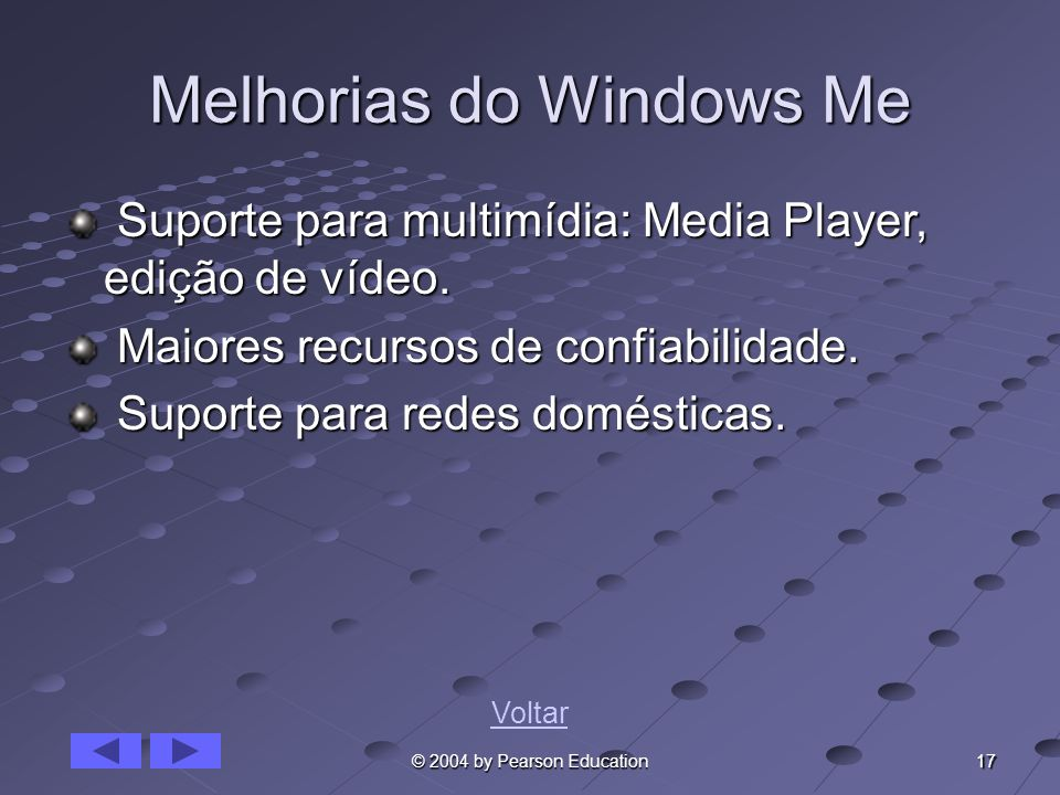 17 © 2004 by Pearson Education Melhorias do Windows Me Suporte para multimídia: Media Player, edição de vídeo. Suporte para multimídia: Media Player,