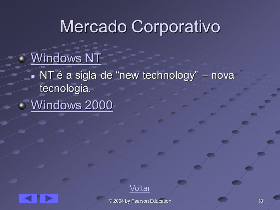 18 © 2004 by Pearson Education Mercado Corporativo Windows NT Windows NTWindows NTWindows NT NT é a sigla de new technology – nova tecnologia. NT é a