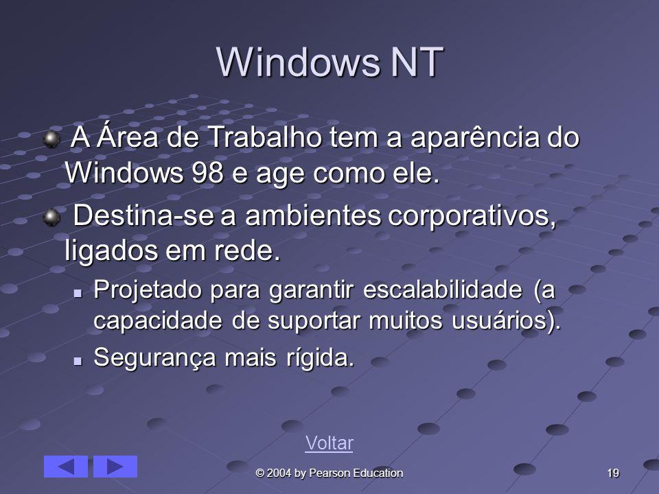 19 © 2004 by Pearson Education Windows NT A Área de Trabalho tem a aparência do Windows 98 e age como ele. A Área de Trabalho tem a aparência do Windo