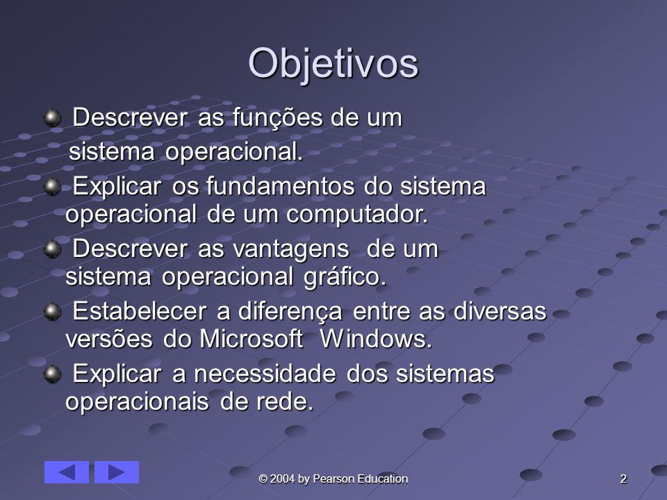 2 © 2004 by Pearson Education Objetivos Descrever as funções de um Descrever as funções de um sistema operacional. sistema operacional. Explicar os fu