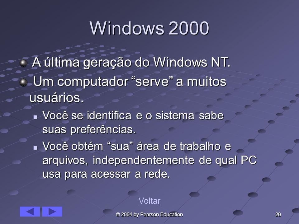 20 © 2004 by Pearson Education Windows 2000 A última geração do Windows NT. A última geração do Windows NT. Um computador serve a muitos usuários. Um