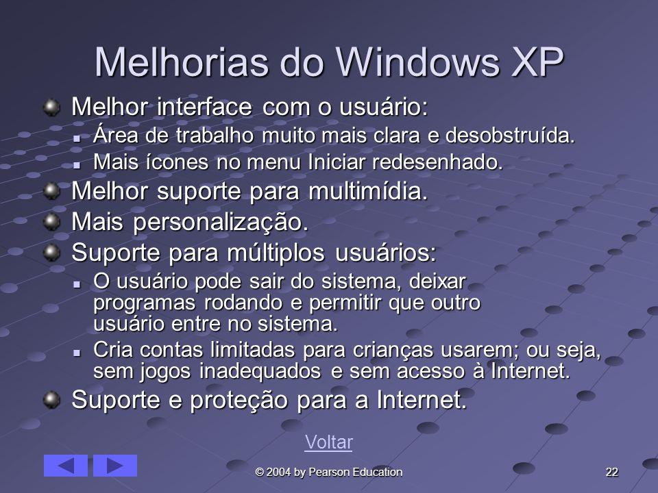 22 © 2004 by Pearson Education Melhorias do Windows XP Melhor interface com o usuário: Melhor interface com o usuário: Área de trabalho muito mais cla