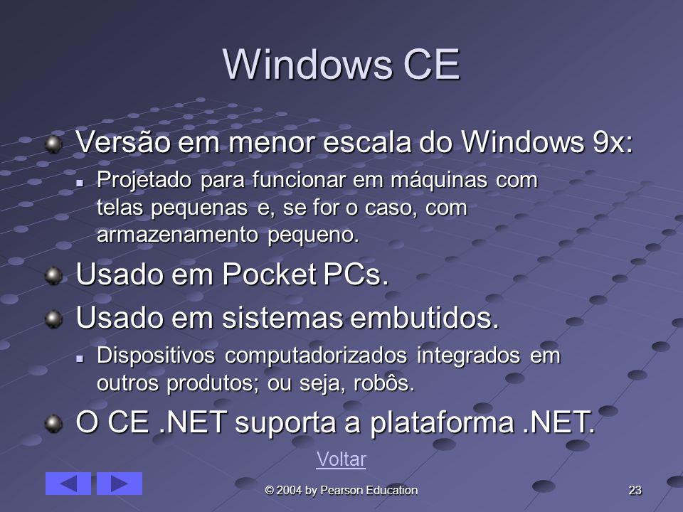 23 © 2004 by Pearson Education Windows CE Versão em menor escala do Windows 9x: Versão em menor escala do Windows 9x: Projetado para funcionar em máqu
