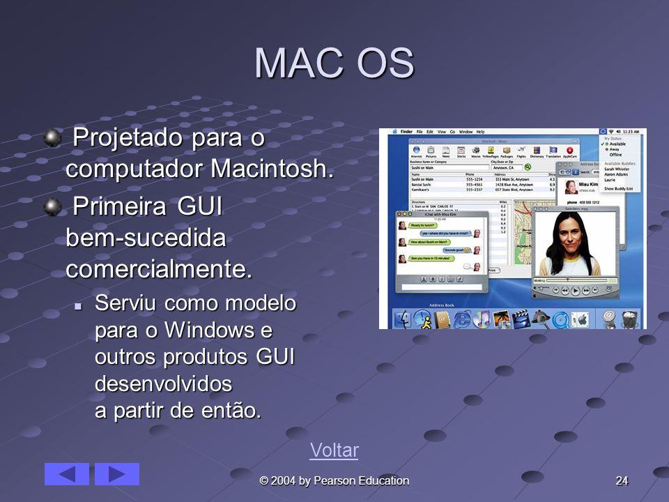 24 © 2004 by Pearson Education MAC OS Projetado para o computador Macintosh. Projetado para o computador Macintosh. Primeira GUI bem-sucedida comercia