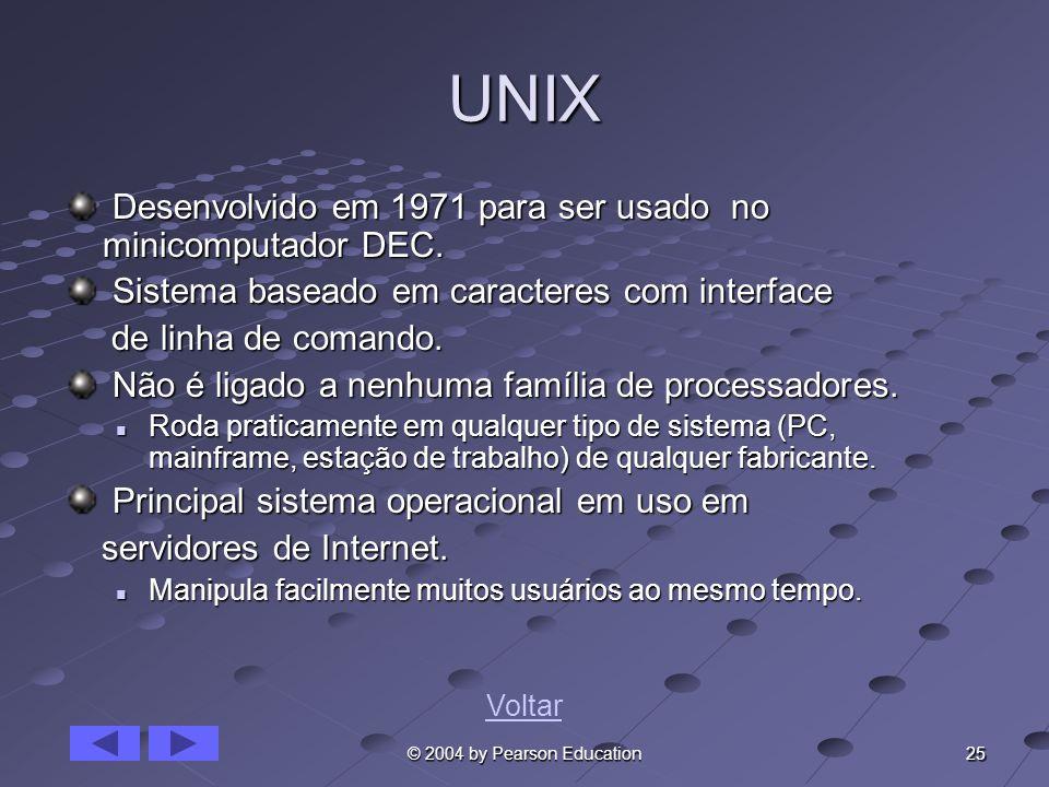 25 © 2004 by Pearson Education UNIX Desenvolvido em 1971 para ser usado no minicomputador DEC. Desenvolvido em 1971 para ser usado no minicomputador D