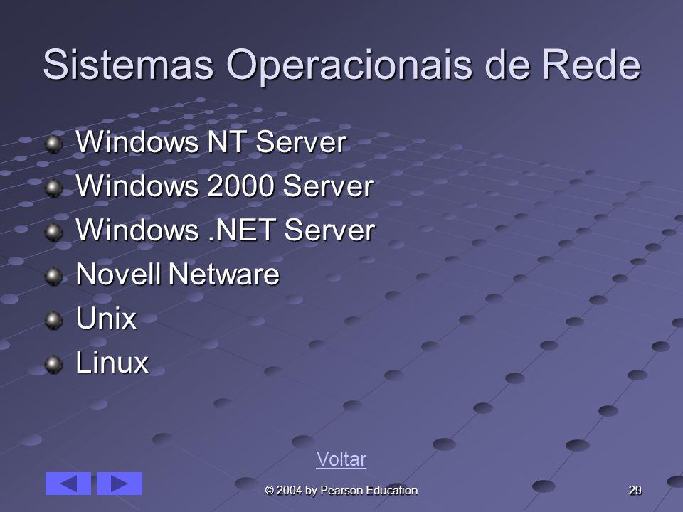 29 © 2004 by Pearson Education Sistemas Operacionais de Rede Windows NT Server Windows NT Server Windows 2000 Server Windows 2000 Server Windows.NET S