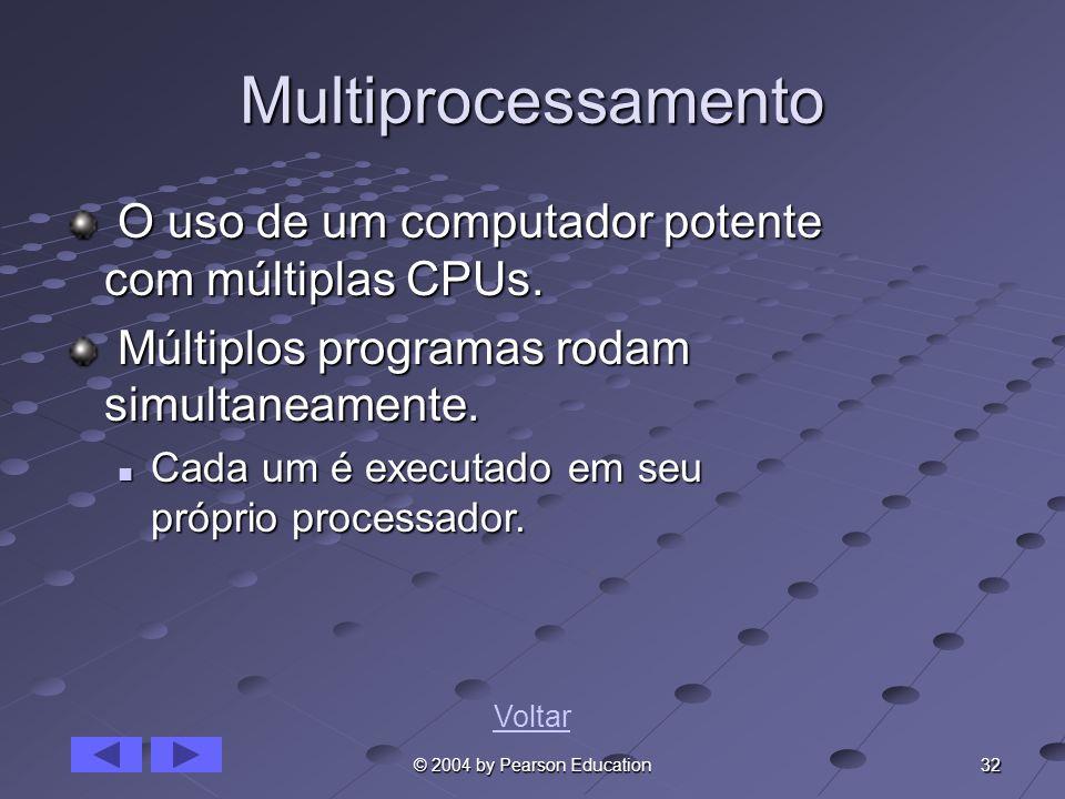 32 © 2004 by Pearson Education Multiprocessamento O uso de um computador potente com múltiplas CPUs. O uso de um computador potente com múltiplas CPUs
