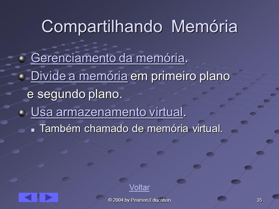 35 © 2004 by Pearson Education Compartilhando Memória Gerenciamento da memória. Gerenciamento da memória.Gerenciamento da memóriaGerenciamento da memó