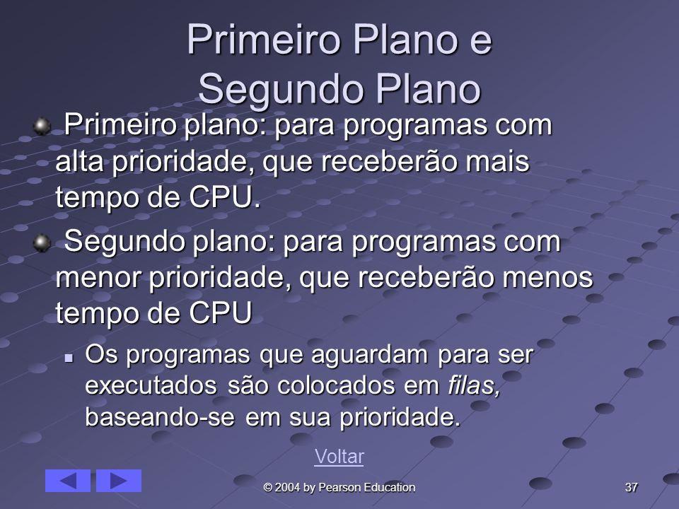37 © 2004 by Pearson Education Primeiro Plano e Segundo Plano Primeiro plano: para programas com alta prioridade, que receberão mais tempo de CPU. Pri