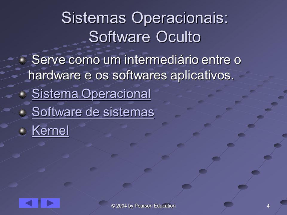 4 © 2004 by Pearson Education Sistemas Operacionais: Software Oculto Serve como um intermediário entre o hardware e os softwares aplicativos. Serve co