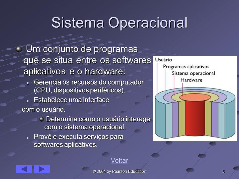 5 © 2004 by Pearson Education Sistema Operacional Um conjunto de programas que se situa entre os softwares aplicativos e o hardware: Um conjunto de pr