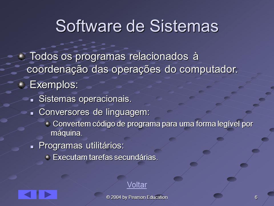 6 © 2004 by Pearson Education Software de Sistemas Todos os programas relacionados à coordenação das operações do computador. Todos os programas relac